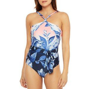 NEW La Blanca Floral High Neck One Piece Swimsuit